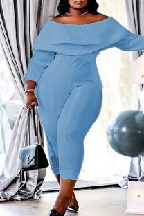 Baby Blue Fashion Casual Solid Split Joint Backless Off the Shoulder Plus Size Jumpsuits