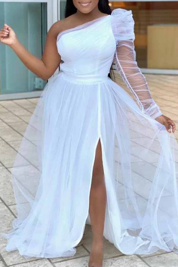 White Fashion Sexy Solid Backless Slit Oblique Collar Long Sleeve Plus Size Dresses