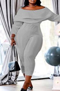 Grey Fashion Casual Solid Split Joint Backless Off the Shoulder Plus Size Jumpsuits