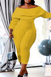 Yellow Fashion Casual Solid Split Joint Backless Off the Shoulder Plus Size Jumpsuits