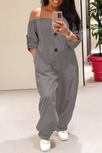 Grey Fashion Casual Solid Split Joint Off the Shoulder Plus Size Jumpsuits