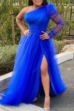 Blue Fashion Sexy Solid Backless Slit Oblique Collar Long Sleeve Plus Size Dresses