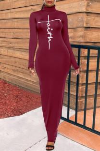 Burgundy Fashion Casual Print Basic Turtleneck Long Sleeve Dresses