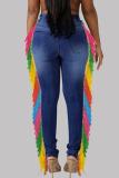 Medium Blue Casual Street Solid Tassel Split Joint High Waist Skinny Denim Jeans