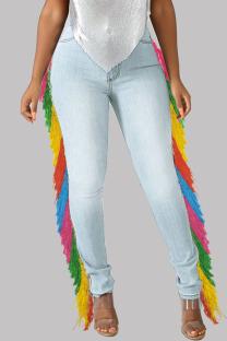 Light Blue Casual Street Solid Tassel Split Joint High Waist Skinny Denim Jeans