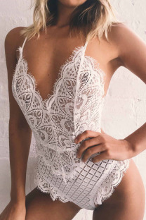 White Fashion Sexy Solid Hollowed Out Lingerie