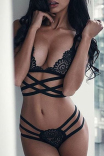 Black Fashion Sexy Solid See-through Lingerie