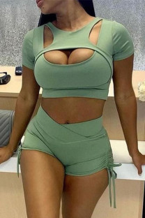 Green Sexy Sports Solid Hollowed Out Split Joint O Neck Short Sleeve Two Pieces