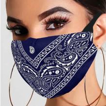 Deep Blue Fashion Casual Print Split Joint Mask