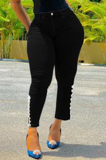 Black Fashion Casual Solid Split Joint Plus Size Jeans