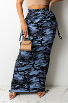 Blue Casual Print Camouflage Print Split Joint Pocket Straight High Waist Straight Full Print Bottoms