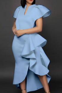 Sky Blue Party Solid Flounce V Neck Cake Skirt Dresses