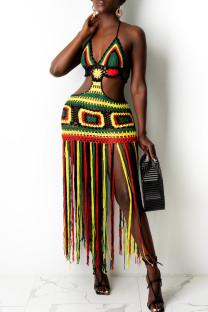Black Fashion Sexy Patchwork Tassel Hollowed Out Backless Swimwears Beach Dress