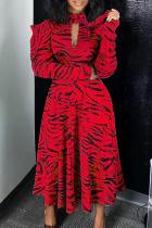 Red Fashion Street Print Split Joint Turtleneck A Line Dresses
