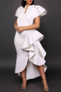 White Party Solid Flounce V Neck Cake Skirt Dresses