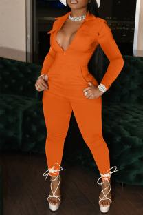 Orange Casual Solid Split Joint Zipper Turndown Collar Regular Jumpsuits
