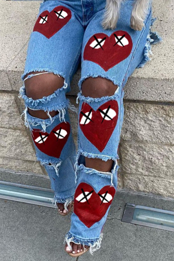 Red Fashion Casual Print Ripped Mid Waist Denim Jeans