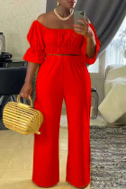 Red Casual Solid Split Joint U Neck Half Sleeve Two Pieces