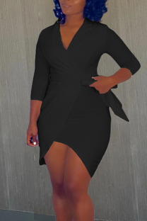 Black Casual Solid Bandage Split Joint Asymmetrical V Neck Irregular Dress Dresses