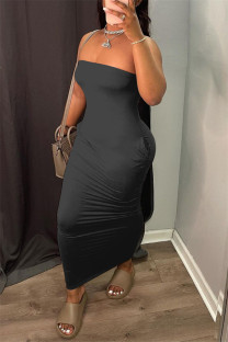 Black Sexy Casual Solid Backless Strapless Sleeveless Dress