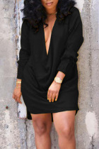 Black Sexy Solid Split Joint V Neck Straight Dresses