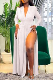 White Fashion Sexy Solid Slit V Neck Long Sleeve Dresses