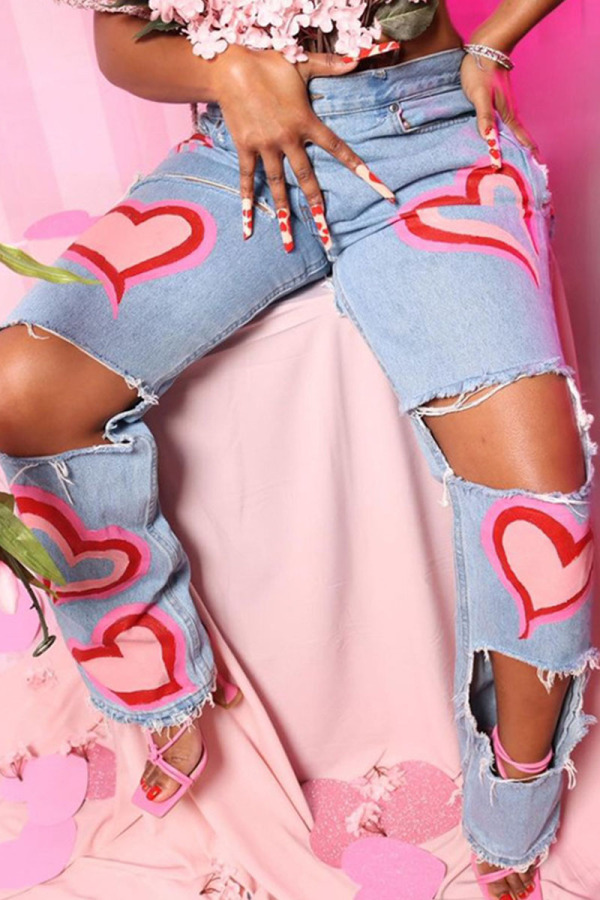 Pink Fashion Casual Print Ripped Mid Waist Denim Jeans