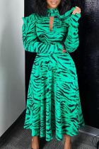 Cyan Fashion Street Print Split Joint Turtleneck A Line Dresses