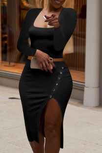 Black Fashion Sexy Solid Split Joint Slit Square Collar Long Sleeve Two Pieces