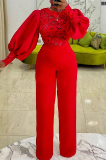 Red Sexy Solid Split Joint See-through O Neck Straight Jumpsuits