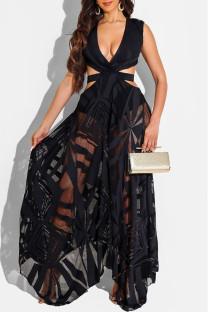 Black Fashion Sexy Patchwork Bandage Hollowed Out Backless V Neck Sleeveless Dress