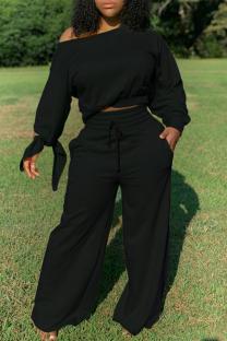 Black Casual Solid Split Joint Oblique Collar Plus Size Two Pieces