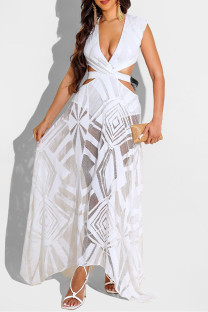 White Fashion Sexy Patchwork Bandage Hollowed Out Backless V Neck Sleeveless Dress