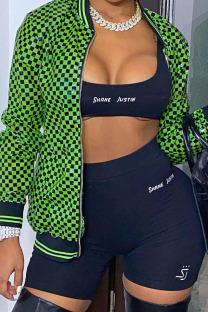 Green Street Plaid Print Split Joint Zipper Outerwear