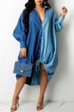 Deep Blue Fashion Casual Patchwork Basic Turndown Collar Long Sleeve Dresses
