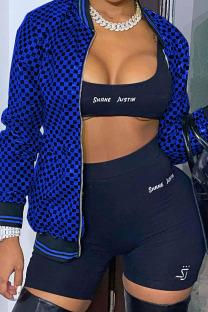 Deep Blue Street Plaid Print Split Joint Zipper Outerwear
