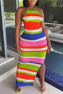 Multicolor Fashion Sexy Striped Print Slit Spaghetti Strap Long Dress
