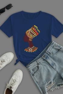 Navy Blue Street Daily Print Split Joint O Neck T-Shirts