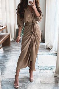Khaki Fashion Casual Patchwork With Belt V Neck Long Sleeve Dresses