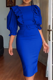 Blue Fashion Sexy Solid Split Joint O Neck Pencil Skirt Dresses