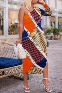Multicolor Fashion Casual Print Basic Oblique Collar Long Sleeve Dresses