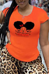 Orange Fashion Street Print Split Joint O Neck T-Shirts