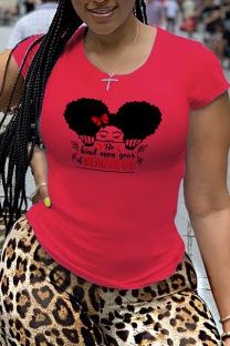 Red Fashion Street Print Split Joint O Neck T-Shirts