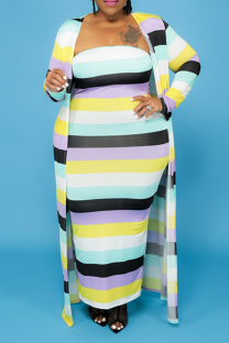 Stripe Casual Striped Split Joint Strapless Plus Size Two Pieces