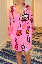 Pink Casual Print Buckle Turndown Collar Tops