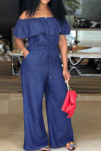 Dark Blue Casual Solid Flounce Off the Shoulder Straight Jumpsuits