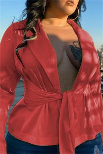 Red Orange Fashion Casual Solid Cardigan Turndown Collar Plus Size Overcoat