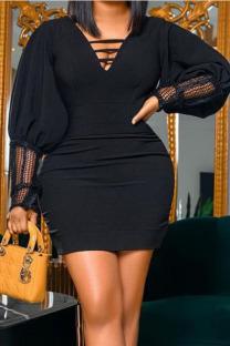 Black Sexy Solid Split Joint Mesh V Neck Dresses