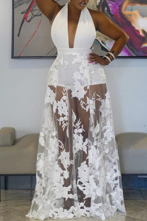 White Fashion Sexy Patchwork Embroidery See-through Backless Halter Sleeveless Dress