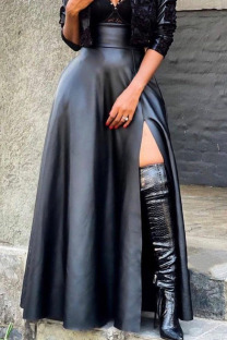 Black Sexy Solid Split Joint Slit Straight High Waist Type A Solid Color Bottoms
